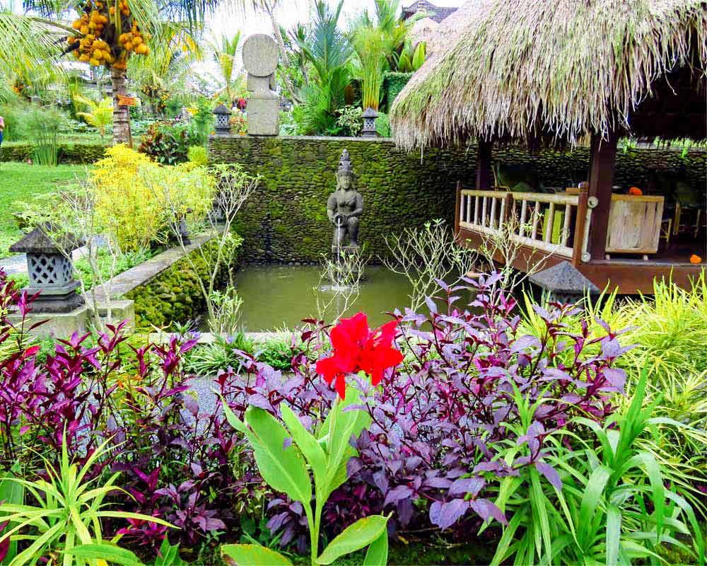 laghetto con piante e statua davanti al terrazzo del bar karsa a ubud